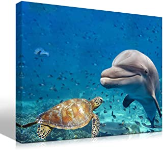 Purple Verbena Art Canvas Print Painting of Sea Turtle Dolphin and Fish Picture Wall Art Underwater World Animal Seascape Photo Artwork Gift for Living Room Bedroom Home Decor-Framed 12x16 Inches