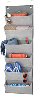 mDesign Soft Fabric Over The Door Hanging Storage Organizer with 6 Large Pockets for Closets in Bedrooms, Hallway, Entryway, Mudroom - Textured Print - Hooks Included - Gray