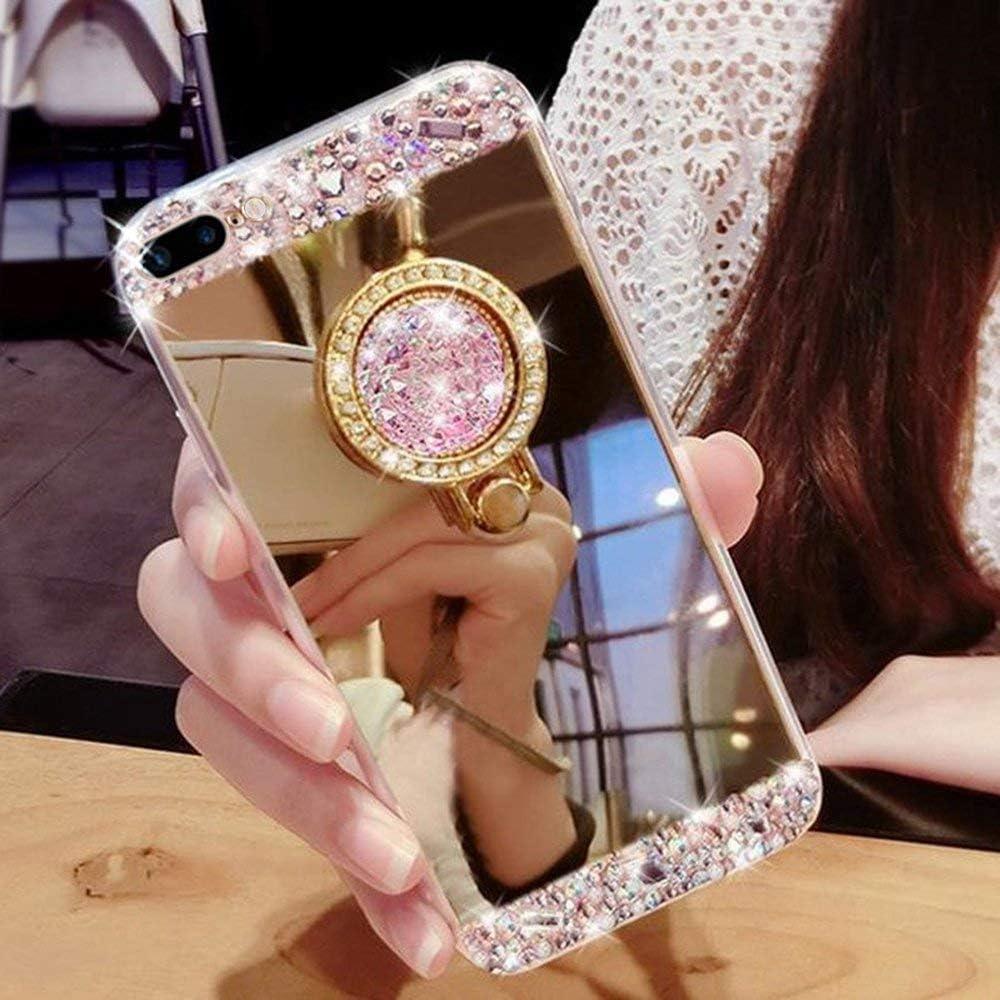 Yobby Miroir Coque pour Huawei Nova 5i//P20 Lite 2019,Etui Huawei Nova 5i//P20 Lite 2019 Or Rose Glitter Paillette Brillante Cristal Housse avec 360 Rotation Bague Anneau Diamant Strass Kickstand