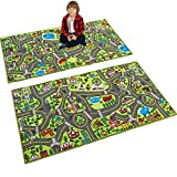 JOYIN 2 Pack Playmat City Life Carpet Playmat for Kids Age 3+, Jumbo Play Room Rug, City Pretend Play