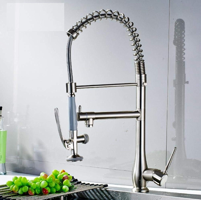 Küchen-Wassermischer-Schwenker-Wannen-Hahn mit Sprühkopf-heiem kaltem einzelnem Handgriff gebürstetem Nickel ziehen unten Küchen-Hhne herunter