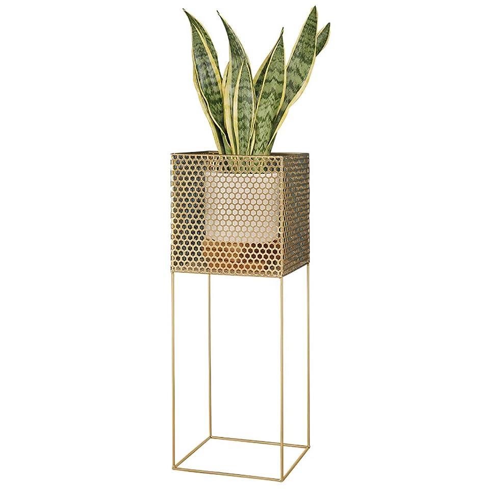 操作可能折り目同級生メタルフラワースタンド植物スタンド収納ラック棚植物フラワーポットラックディスプレイスタンドは1フラワーポット、ゴールド