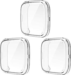 [3 Pack] Screen Protector Case for Fitbit Versa 2, Soft TPU Slim Full Body Cover Screen Protective Case Bumper Cover Compa...