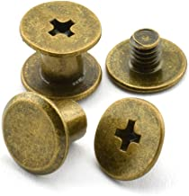 Uxcell a15061000ux0391 Album Scrapbook 5mmx50mm Brass Plated Binding Chicago Screw Post 10pcs Pack of 10