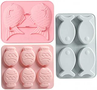 MoldFun 3 Pack Fish Shaped Silicone Molds for Chocolate Candy Gummy Fondant Gelatin Jello Jelly Baking Cake Soap Polymer Clay Crayons Wax Melt Plaster Ice Cube Tray (Random Color)