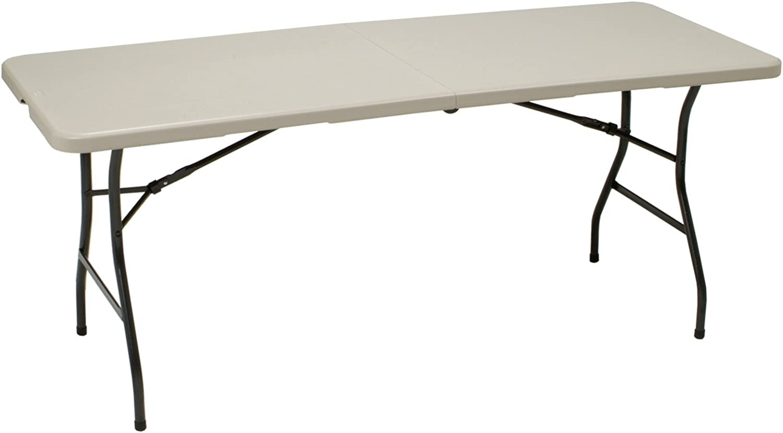 MECO 6-Feet Folding Table, Mocha Metal Frame and Cream Plastic Top