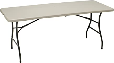 featured product MECO 6-Feet Folding Table,  Mocha Metal Frame and Cream Plastic Top