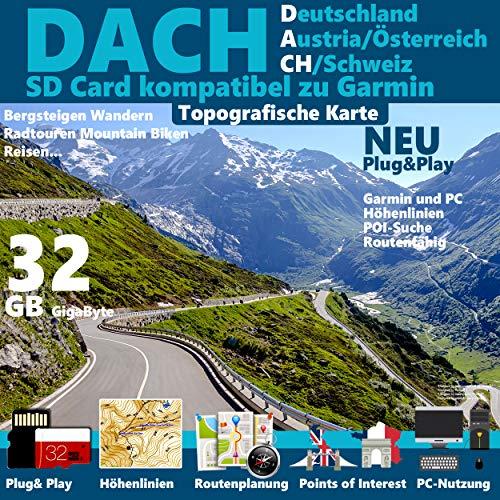 DACH Deutschland Österreich Schweiz Topo Karte für Garmin Garmin eTrex 10 20 25 30 35 GPS 60, GPSMap 60Cx, GPSMap 60CSx, GPSMap 62s, GPSMap 62sc, GPSMap 62st, GPSMap 62stc, GPSMap 64, GPSMap 64s, GPSMap 64st
