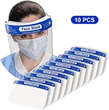 Protective Face Shields,10 Pack Reusable Safety Face Shields with 10 Clear Films, 10..