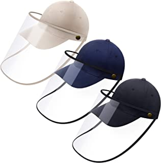 SATINIOR 3 Pieces Full Face Baseball Cap Unisex Protective Cap Protection Hat with Removable Face Cover for Travel Outdoor...