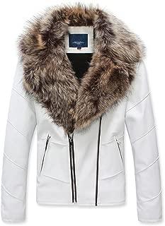 Men's Winter Fur Collar Faux Leather Short Jacket