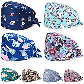 8 Pieces Working Caps with Button Tie Back Hats with Sweatband for Women Men  Classic Style
