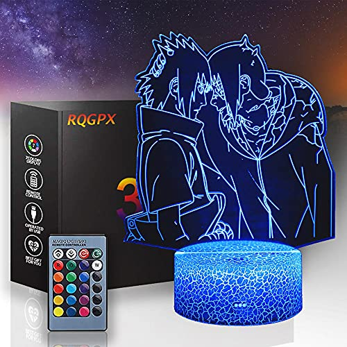 Naruto 3D luz nocturna para niños, Uchiha Itachi Sasuke lámpara de ilusión 3D lámpara de noche lámpara de 16 colores cambio decoración lámpara-Navidad y regalos de cumpleaños para niños y niños