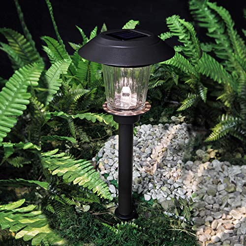 Grand patio Path Lights Solar Powered Outdoor Waterproof 10 Lumen Glass Stainless Steel Wireless LED Low Voltage Landscape Lighting for Yard Garden Pathway Driveway Walkway,Warm White 4 Pack, Black