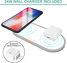 Dual Wireless Charger Fast Charging Station, Hometall 24W Dual Wireless Charging Pad with Cable & Qualcomm 3.0 Quick Charge Wall Adapter,Certified Qi Wireless Charger for iPhone AirPods Samsung(White)