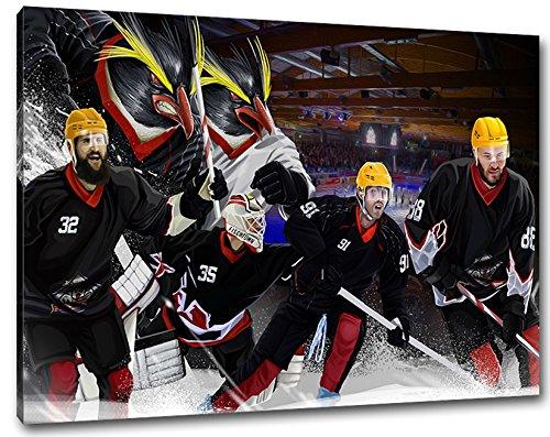 Bremerhaven Eishockey, Fan Artikel Leinwandbild, Größe: 100x70cm, Auf Holzrahmen gespannt, Kein Poster oder billig Plakat, Must Have für echte Fans