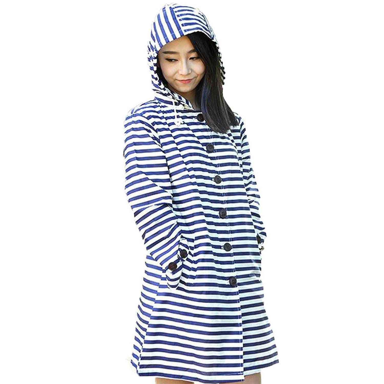 [美しいです] 夏 四季 女性 大人 レディース 撥水 ファッション 可愛い 海軍風 ストライプ フード付き ラインコート 通勤 通学 オシャレ 合羽 超軽量 梅雨 雨具 アウトドア ハイキング ウインドブレーカー