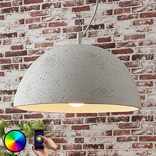 Lindby Beton Smart Home Pendelleuchte 'Carolle' dimmbar (Modern) in Weiß aus Beton, u.a. für Wohnzimmer & Esszimmer (1 flammig, E27, A+, inkl. Leuchtmittel) - Deckenlampe, Esstischlampe, Smarte