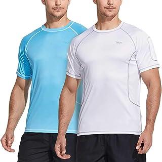 TSLA Men's (Pack of 1, 2) Rash Guard Swim Shirts, UPF 50+ Quick Dry Mid/Short Sleeve Swimming Shirt, UV/SPF Water Surf Shirts