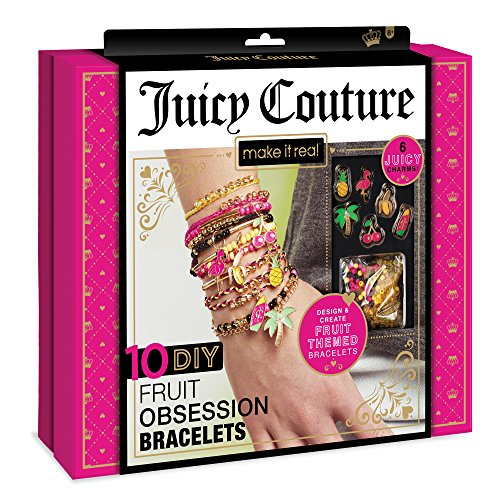 Make It Real – Juicy Couture Fruit Obsessions Bracelets. DIY Bracelet Making Kit for Girls. Design and Create Girls Bracelets with Juicy Couture Charms, Beads, Gold Bangle, Nylon and Cotton Threads