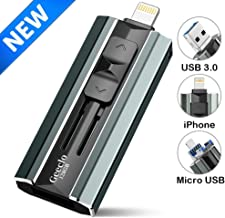 iPhone Flash Drive 128GB, Geeclo iPhone Memory Stick 128GB for iPhone X XR XS MAX, Jump Drive iPhone Thumb Drive USB 3.0 Flash Drive Compatible with iPhone/iPad/Android Computer-Update (Dark Green)