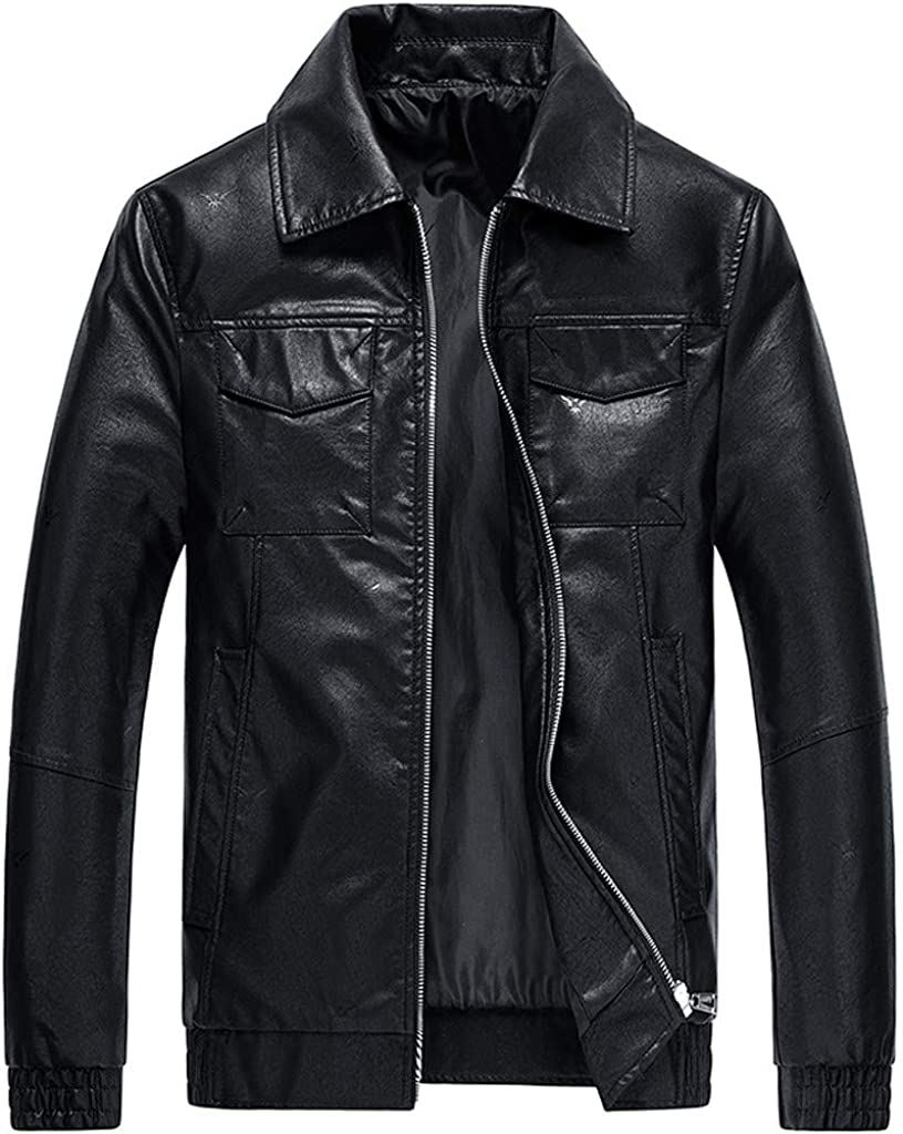 Mens Slim Leather Jacket NRUTUP Tall Faux Free shipping anywhere Lowest price challenge in the nation and Big Biker