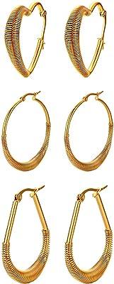 set di Orecchini grandi a cerchio, in acciaio inox, dorati, da donna, nel set sono inclusi orecchini rotondi, a goccia d'acqua e a forma di cuore, diametro: 30-39 mm