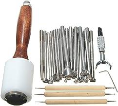 Klinkamz - Juego de 25 herramientas de cuero para manualidades con piel, martillo tallado, herramienta de impresión, kit de costura hecho a mano, accesorios de bricolaje