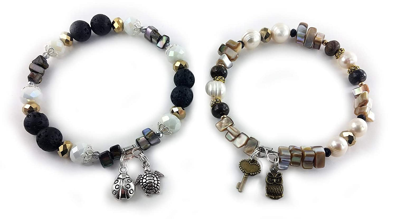 Beaded Black and White Multi-Gemstone C with shipfree Bangle Bracelet Set At the price
