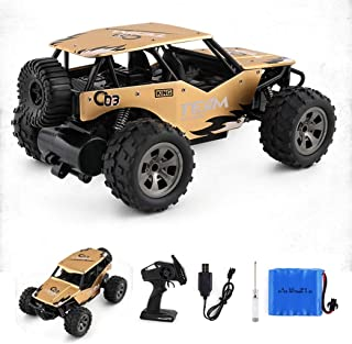 Buywin JJQ-Toys RC Car 4WD 2.4Ghz 1:18 Off Road Remote Control Vehicle Toy Alloy Body Crawler Climbing Racing Cross-Country Car Golden