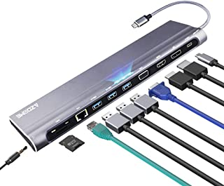 USB C Hub, 12 in 1 Docking Station with 100W PD, 4K HDMI,5Gbps 3.0 USB, RJ45 Ethernet, Charging Power, Audio, VGA, Micro/SD Card Reader for MacBook/Pro/Air, Chromebook, iPad, Samsung