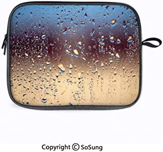 14inch Laptop Sleeve Bags,Close Up Rain Drops on Glass Natural Sprays Sphere Contrasting Colors Picture Decorative Laptop Briefcase Compatible with ACER 14 CB3-431/Lenovo ThinkPad T480