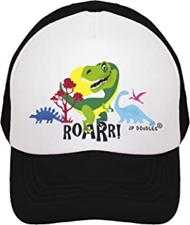 JP DOoDLES T-Rex Dinosaur on Kids Trucker Hat. Kids Baseball Cap is Available in Baby, Toddler, and Youth Sizes.…