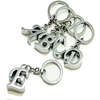 Biomar Labs 3D Metal A-Z Alphabet Personalized Name Initials Keyring Key Ring Chain Stainless Steel Gift Box Men Women Keychain Bag Accessories Jewelry Handbag Silver Letter C KK 133