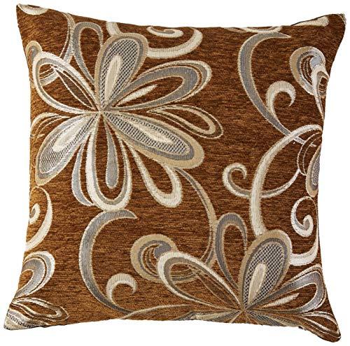 Violet Linen Chenille Chateau Vintage Floral Design Decorative Throw Pillow, 18