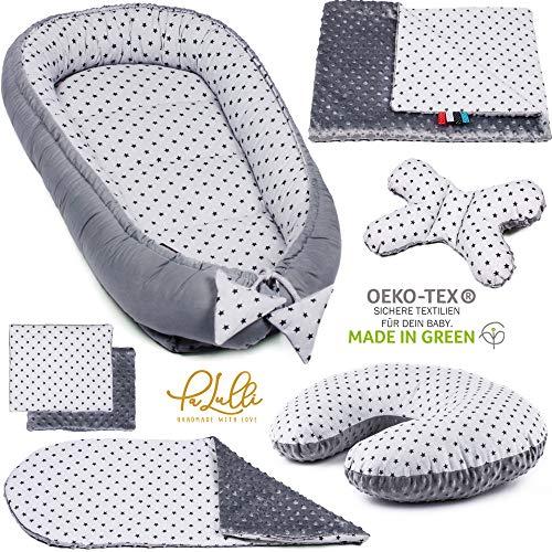 6-tlg PALULLI Baby Ausstattung-Set - Babynest 95x55cm, Stillkissen, Baby-Matratze, Kuscheldecke, Flachkissen, Nackenkissen, kuschelweich für Babys (STERNE GRAU)