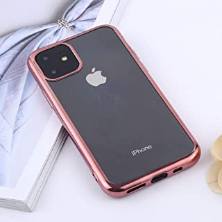 Apple Silicone Case for iPhone XI Max, Transparent TPU Anti-Drop and Waterproof Mobile Phone Protective Case (Color : Rose...