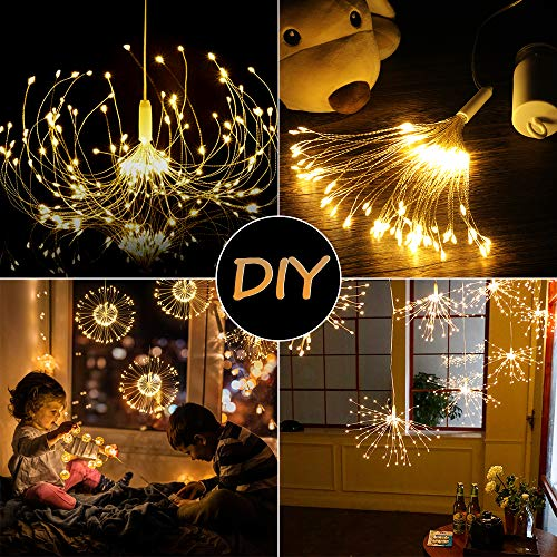 Firework Lights, Homga 4 Pack String Lights 600 LED Starburst Lights Copper Wire Lights, 8 Modes Battery Operated Fairy Lights with Remote, Waterproof Decorative Hanging Lights Party Garden Christmas 3
