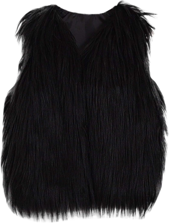 OutTop Kids Girls Trendy Faux Fur Vest Waistcoat Warm Sleeveless Cardigans Fuzzy Lightweight Fur Jacket Outwear