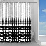 GEDY G-Ipnosi 120 x 200 cm, aus PES, 100 prozent wasserdicht, Finish Weiß & Schwarz, Design RundS, Duschvorhang mit 12 Ringen, 2 Jahre Garantie, einzigartig