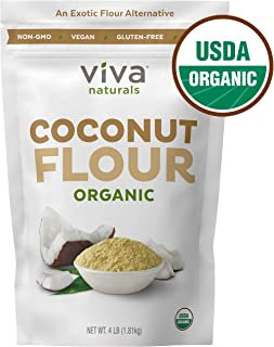 Organic Coconut Flour for Gluten Free Baking, Paleo & Vegan Certified, Unbleached & Unrefined Baking Flour Substitute, 4 lbs (1.81 kg)