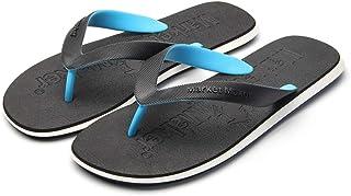 Men's Summer Flip Flops, Wear-Resistant Rubber Sandals Comfortable Non-Slip Slippers Toe Post Thongs Beach Shoes for Apartments, Hotels, Houses,Travel,Black,41/42