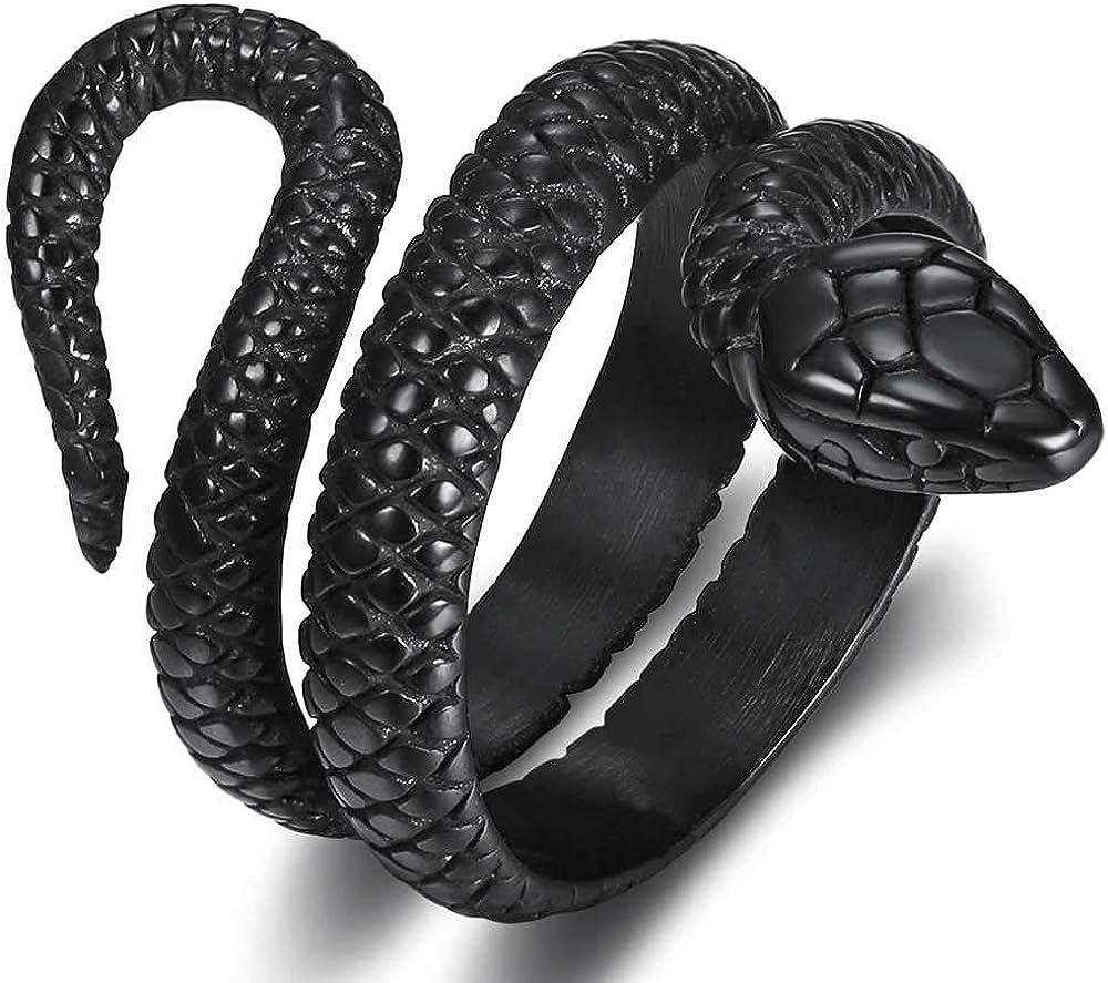 Stainless Steel Retro Vintage Snake Stye Cocktail Party Statement Biker Ring