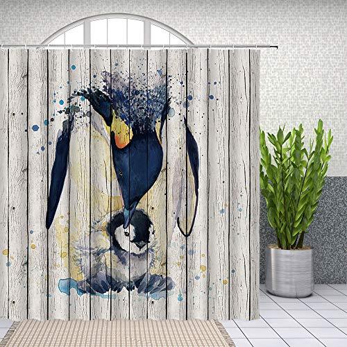 Yadshoti Duschvorhänge mit Pinguin-Motiv, Aquarell, antarktische Tiere, Pinguin, Mutter & Kind, Retro, Bauernhof, Holzbrett, Badezimmerdekor, Stoffvorhang-Set, 178 x 178 cm mit Haken