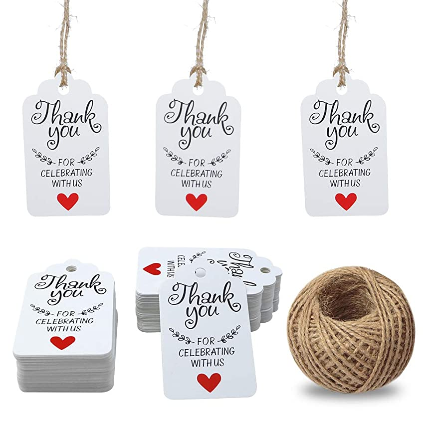 Gift Tags,Baby Shower Tags,White Thank You for Celebrating with Us Tags,100 Pcs Kraft Thank You Tags for Wedding Party Favors Thanksgiving with 100 Feet Natural Jute Twine