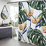 AooHome Banana Leaves Shower Curtain, Rainforest Fabric Bathroom Curtain with Hooks, Heavy Duty, Weighted Hem, Waterproof, White, 70x72 Inch