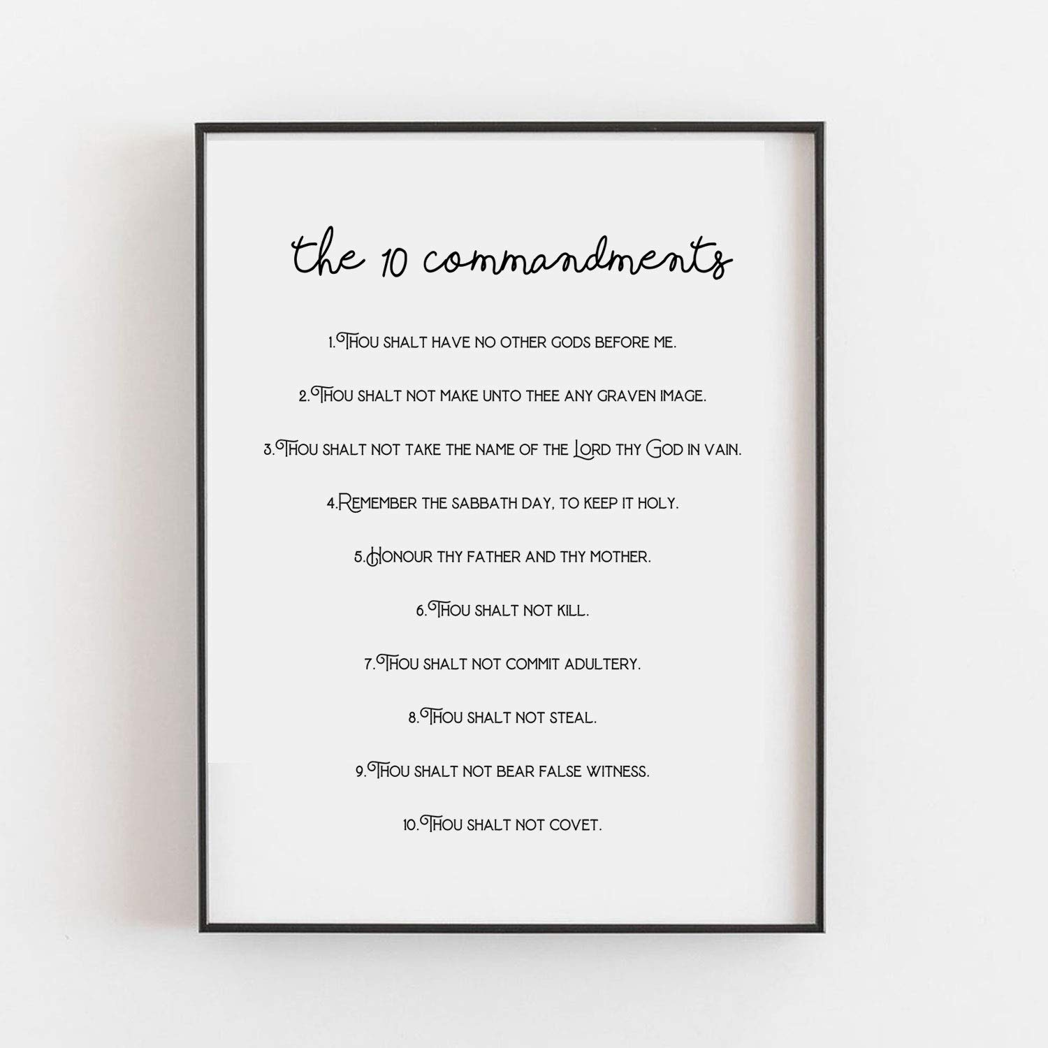 The 10 Commandments Super sale period limited Christian At the price of surprise Decor Home Ten Print