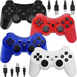 Wireless Controllers for PS3 Playstation 3 Dual Shock, Bluetooth Remote Joystick Gamepad for Six-axis with Charging Cable,Pack of 4 (Black,White,Blue,Red)