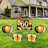 Yangmics Direct 60th Birthday 1961 - Outdoor Lawn Sign - Yard Sign - 5 Piece -Black Gold