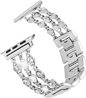 Tensea Jewelry Band Compatible with Apple Watch Band 40mm 38mm, Women Bling Diamond Bracelet with Removable Stainless Steel Metal Buckle Replacement for iWatch Apple Watch Band Series5 4 3 2 1(Silver)